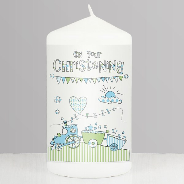 Whimsical Train Christening Candle
