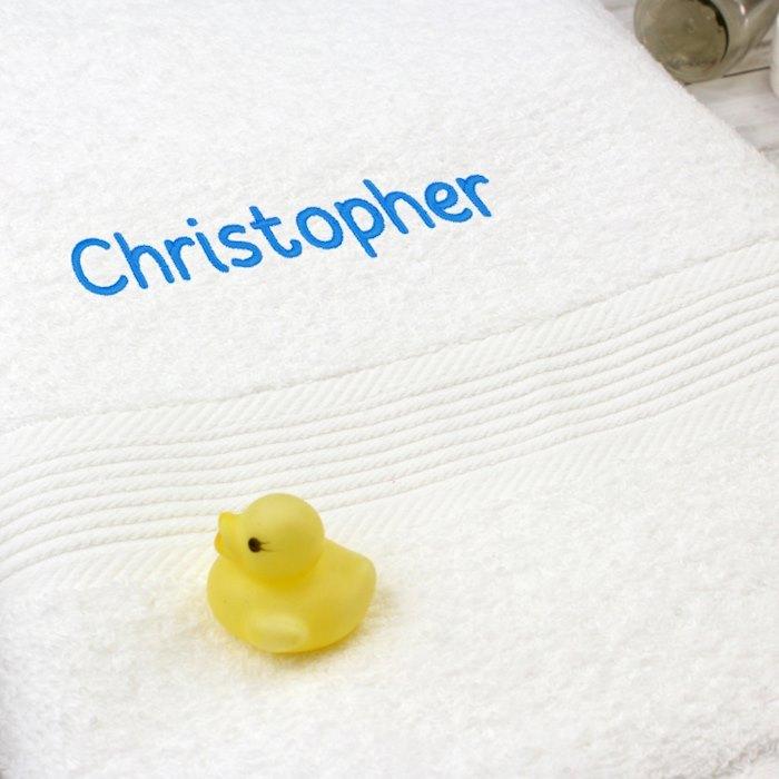White Bath Towel - Blue