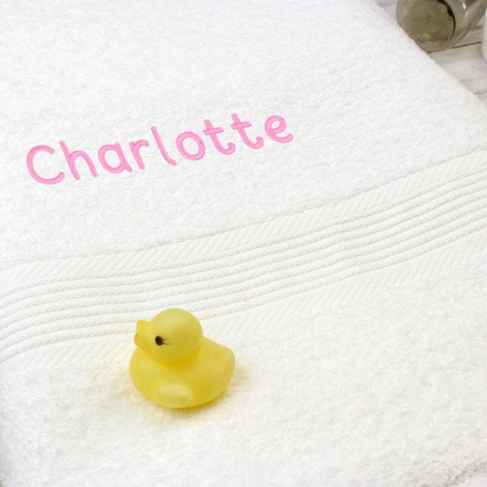 White Bath Towel - Pink