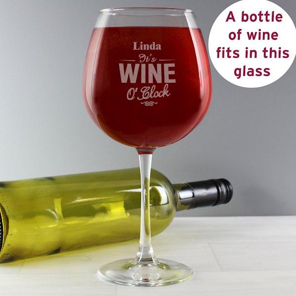 Wine O'Clock Bottle of Wine Glass
