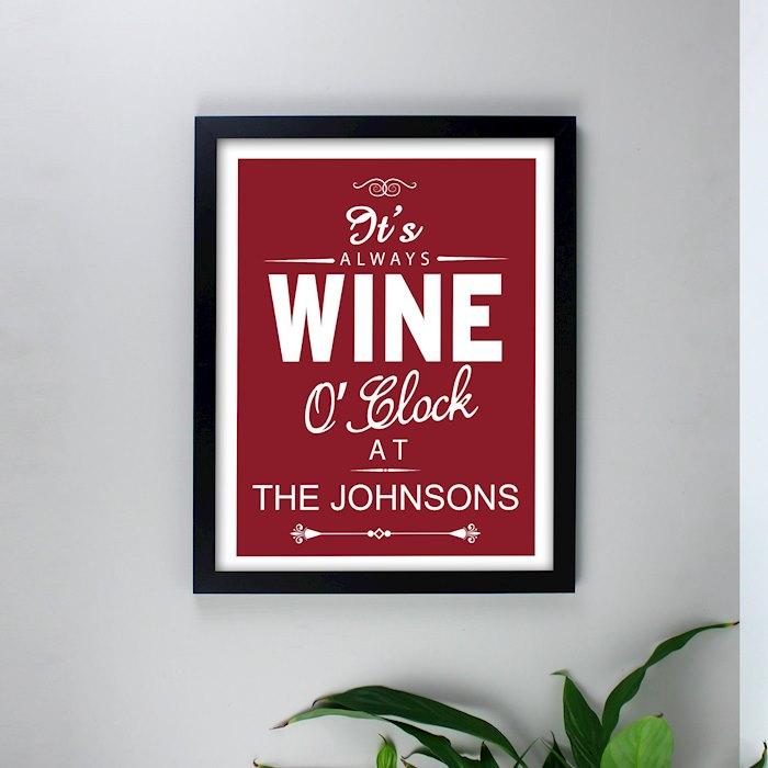 Wine O'Clock Black Framed Poster Print