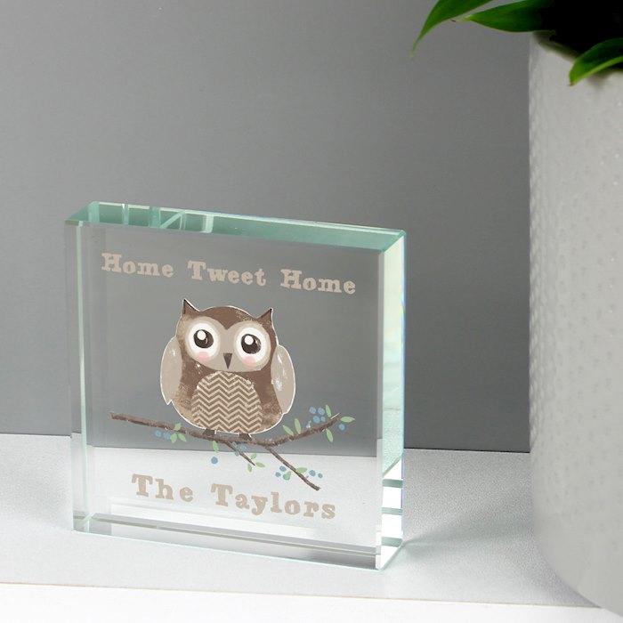 Woodland Owl Large Crystal Token