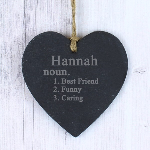 Personalised Word Definition Small Slate Heart Decoration