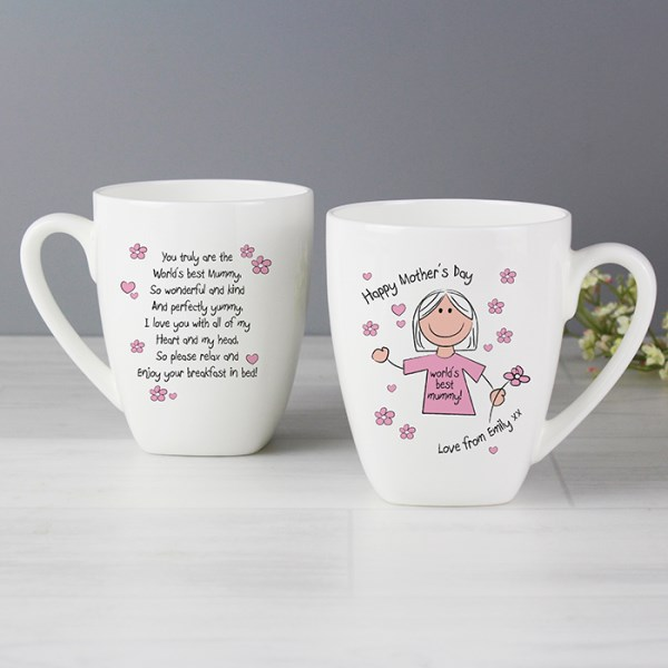 Mother's Day World's Best Mum T-Shirt Latte Mug