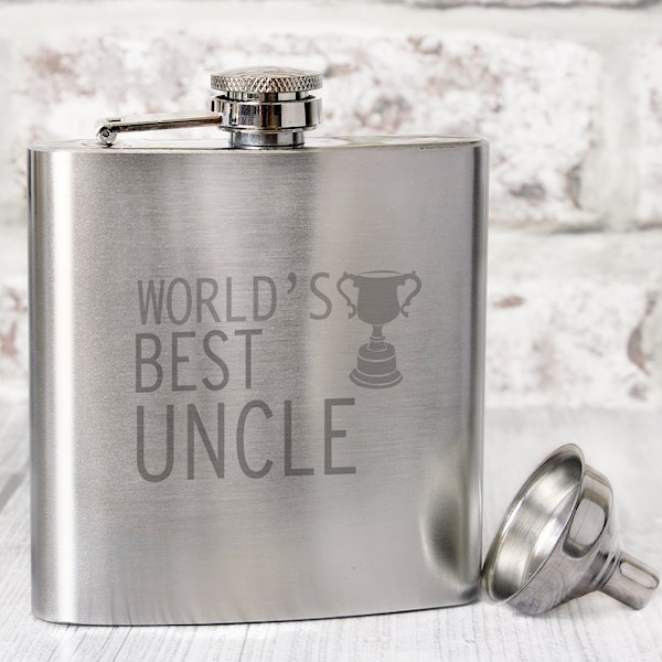 World's Best Uncle Hip Flask