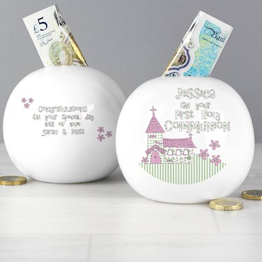 Whimsical Church Pink 1st Holy Communion Money Box